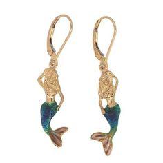 14k Yellow or White Gold Enameled Mermaid Leverback Dangle Earrings
