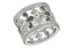 1 1/10 Carat red, green and white diamond sterling silver w/ black rhodium yellow gold plated ring