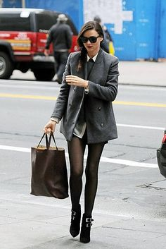 I had to do a double-take when I read the caption; #MirandaKerr looks so sleek here! #tights #fashion