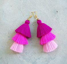 Fuchsia Pink Ombre Tassel Earrings