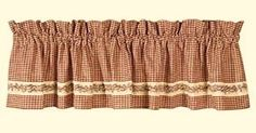 New Country Primitive Homespun Red Burgundy Check BERRY VINE Curtain Valance #CountryHouse #Country