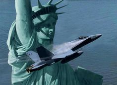 New York Harbor, statue of liberty. USA. FA-18 Airbrushed by Dru Blair.