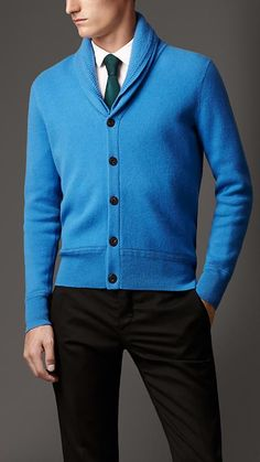 Burberry London Double-Faced Cashmere Shawl Collar Cardigan