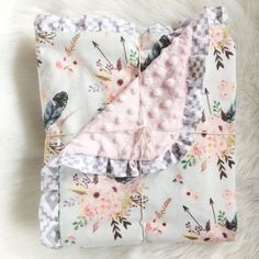Newborn Baby Reversible Blanket Soft Polyester Cotton/minky Dreamcatcher/deer Chills And Pains Nursery Bedding