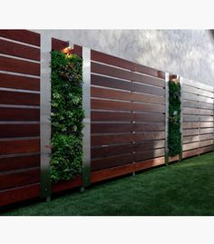 73 garden fence ideas for protecting your privacy in the yard : Front Yard Privacy Garden Fence Wood Steel Elements Vertical Garden Wall Contemporary Landscape, Landscape Design, Garden Design, House Design, Contemporary Style, Wall Design, Contemporary Gardens, Patio Design, Backyard Fences