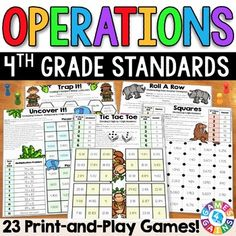 These games make 4th grade operations standards so much fun to practice! This 4th Grade Operations Games Pack contains 23 fun and engaging printable board games to help students to practice 4th grade addition, subtraction, multiplication, and division standards. This pack includes 23 DIFFERENTIATED games that cover