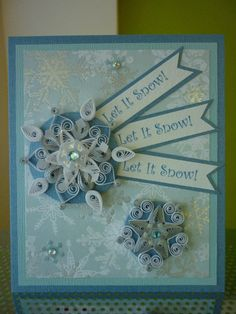 Handmade Quilling Blue White Paper Card with Amazing Quilled Snowflakes (Christmas, New Year or Winter Birthday)