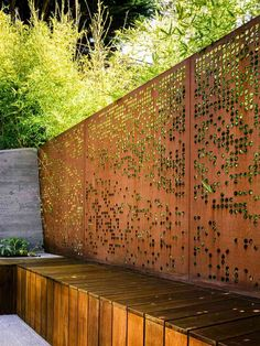 perforated steel plate airy garden-fence-corten dream gardening trends