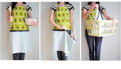Apron with zip off towel tutorial http://hisforhandmade.blogspot.com/2011/06/hand-towel-apron-with-zipper-tutorial.html