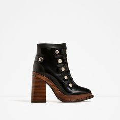 LEATHER HIGH HEEL ANKLE BOOTS WITH WOODEN SOLE-Ankle boots-SHOES-WOMAN   ZARA United States