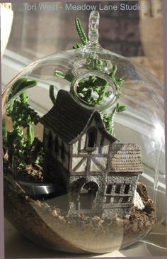 """1:144th scale house in 5"""" glass dome with living plants"""