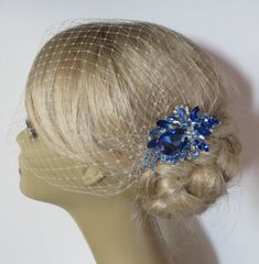 Something Blue   Birdcage Veil  and a Bridal Hair by IreneJewelry, $64.00