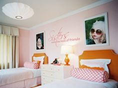 Sisters make the best of friends - love the decal & the pix above the beds