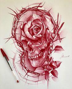 Chicano Tattoos, Skull Tattoos, Sleeve Tattoos, Cool Tattoos, Skull Tattoo Design, Tattoo Designs, Ozzy Tattoo, Skull Reference, Ballpoint Pen Art