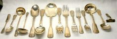 Tiffany & Co. Flatware Shell & Thread Sterling Silver Service Set (15)Pc