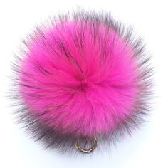 7 inch Pom-pom bag charm fur pom pom keychain purse pendant in hot pink with natural markings
