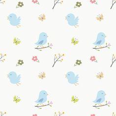Cartoon Bird Pattern Bird Wallpaper, Room Wallpaper, Vinyl Paper, Canvas Paper, Nursery Wall Murals, Wall Decals, Flip Image, Cartoon Birds, Wall Design