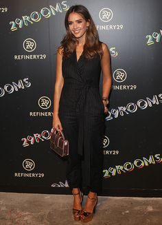 Jessica Alba in pinstripe jumpsuit