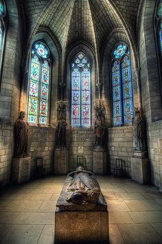 The Cloisters, NYC. This is a 14th century chapel from Austria. The effigy is 13th century. Simple and beautiful