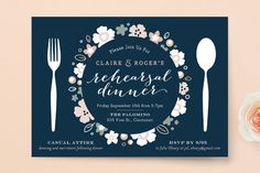 """""""Pretty Plate"""" - Floral & Botanical Rehearsal Dinner Invitations in Navy by Carrie ONeal."""