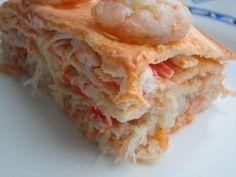 Pastel de cangrejo y langostinos