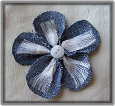 Fabric Flower with Silver Ribbon