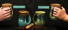 HANDWARMER MUGS - I had 2 righties and 1 lefty and love them.  Great gifts! @clayinmotion.com from Bend, Oregon