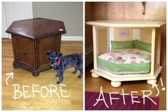 Took an old, ugly, thrift store side table, that cost me $5.59, and turned it into a cozy, pretty dog bed.