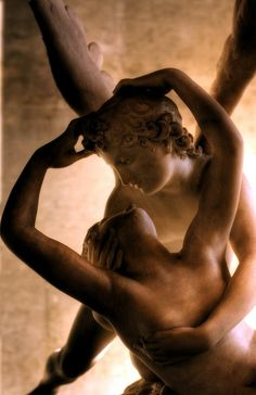 """Close-up of """"Il bacio di Amore e Psiche"""", 1787-93), by Antonio Canova. Should be translated as """"the kiss of Cupid and Psyche"""" imo, but all sorts of translations flying around; Refers to the opera """"Amore e Psiche""""; Marble; Musée du Louvre, Paris."""