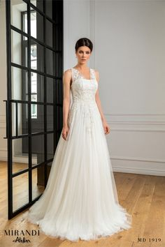 Rochie cu corset din tull Kadi ce este decorata cu dantela florala. Trendy Wedding, New Trends, Corset, Wedding Dresses, Collection, Fashion, Bride Dresses, Moda, Bustiers