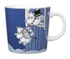 Moomin Mug Winter 2009 Christmas Surprise Arabia Moomin Mugs, Fuzzy Felt, Tove Jansson, Nordic Home, Dark Blue Background, Christmas Mugs, Marimekko, Ceramic Cups, Porcelain Ceramics