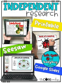 Students complete digital or printable independent research on the life cycle of a ladybug