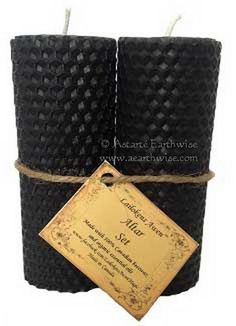 1 x SET (2) OF BLACK ALTAR CANDLES 110 mm Wicca  Witch Pagan Goth Ritual