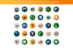 Hobby Icons + Bonus Illustrations by Decorwith.me Shop on Creative Market