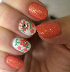 Floral nails. Coral flowers diamond crystals green sparkles glitter white nail art nail design hand painted