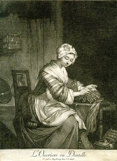 Interior with a seated woman tatting; bird in a cage on the wall to left.  c.1770s Mezzotint