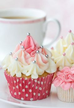 Pink and White Poka Dot Cream Top Cupcakes, wedding cupcakes, high tea cupcakes