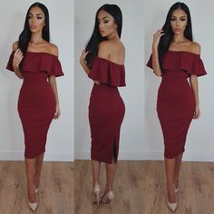 Off Shoulder Ruffle Solid Sheath Knee-length Dress