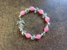 "Crystal Angel Stretch Bracelet, 8"", pink glass opaque beads, crystal round beads, silver angle wings by SpiritMuse on Etsy"