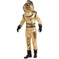Deep Sea Diver Adult Costume ($50) ❤ liked on Polyvore featuring costumes, halloween costumes, white costumes, adult halloween costumes, adult costumes and white halloween costumes
