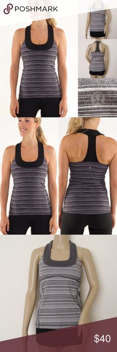 "Lululemon Scoop Neck Tank LULULEMON ATHLETICA Gray Stripe Galore Scoop Neck Tank. Size 6. Excellent condition! Worn once. No visible flaws. Materials: Luon/CoolMax Features:  shelf bra with pockets (no pads)/ criss cross back/body skimming fit, mid-hip length Measurements (laying flat): • Width - 14"" ( pit to pit) • Length - 24"" ~❌SWAP❌TRADE ~ ✔️❤️Bundles📦💕 ~✔️Smoke-free/pet-free home lululemon athletica Tops Tank Tops"
