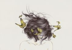 "Wild hair, butterflies, bare shoulders.  (By ""The White Deer"")"