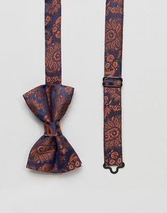 ASOS DESIGN paisley bow tie in navy