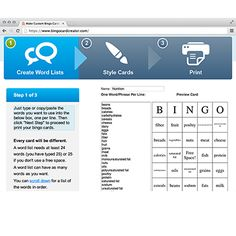 Create Your Own Bingo Cards In Just Three Steps! Bingo Card Creator lets teachers and parents make custom printable bingo cards for instruct... $$ http://www.bingocardcreator.com/