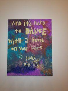 """Florence and the Machine Painted Canvas - Lyrics from """"Shake It Out"""" on Etsy, $20.00"""