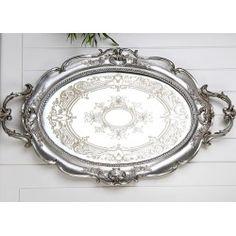 Aynalı Polyester Tepsi Gümüş 48x29 Cm