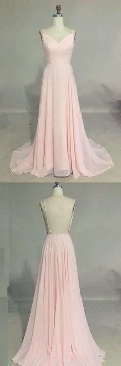 Pink Chiffon Prom Dress,Backless Spaghetti Prom Dress,Custom Made Evening Dress,17298