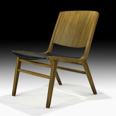 Peter Hvidt; Teak, Beech and Leather Lounge Chair, 1950s.