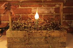 Large Tobacco lath primitive basket light with pip berries on Etsy, $38.00