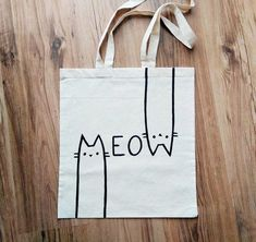 MEOW   hand painted  TOTE BAG shopping bag grocery. #totebag #bag #accessories #CollectorsOnly